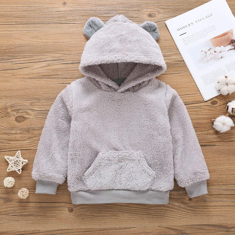 Voberry Unisex Baby Fur Winter Warm Hoodie Bear Coat Jacket Toddler Thick Warm Clothes Voberry®