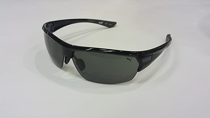 101acbb71b6 Image Unavailable. Image not available for. Colour  PUMA PU14705A Black  Sport Wrap Semi-rimless Polarized Sunglasses ...