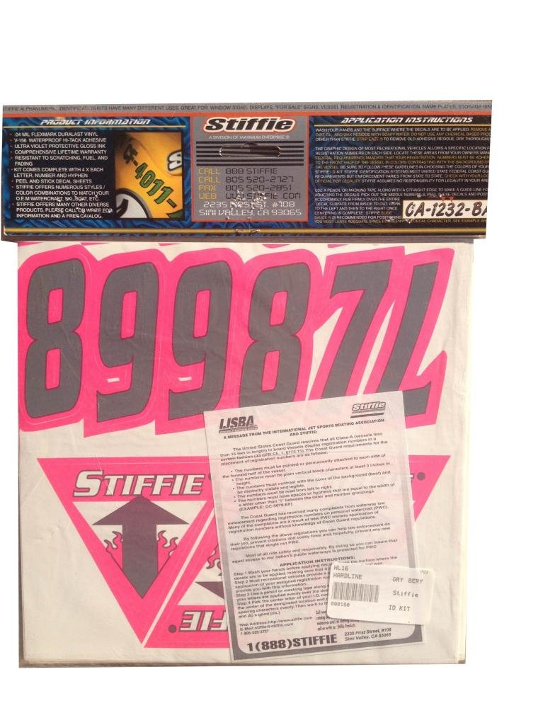 Stiffie Hardline Grey//Pink 3 Alpha-Numeric Registration Identification Numbers Stickers Decals for Boats /& Personal Watercraft