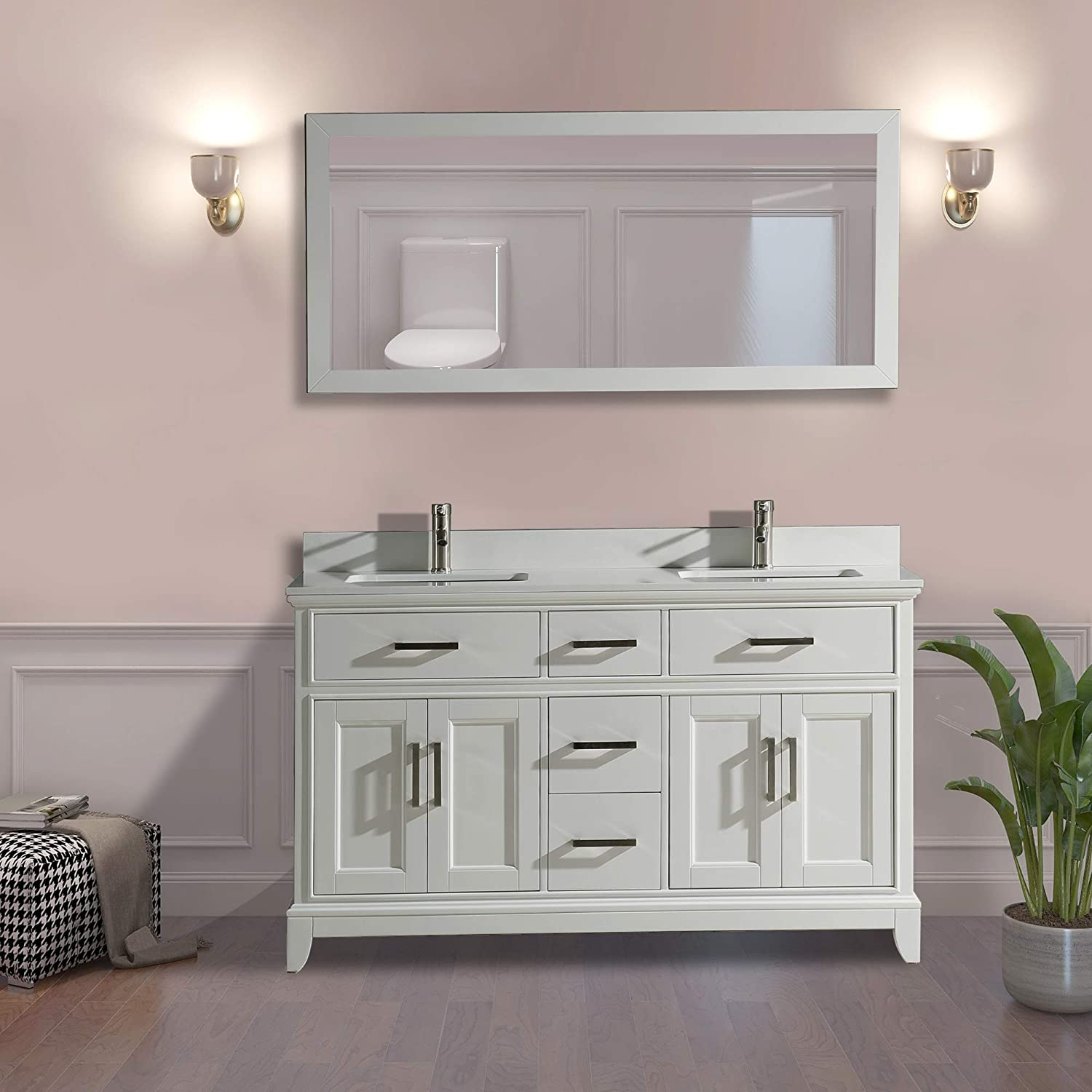 Vanity Art 60 Inch Double Sink Bathroom Vanity Set Super White Phoenix Stone, Soft Closing Doors Undermount Rectangle Sinks with Free Mirror – VA1060-DW