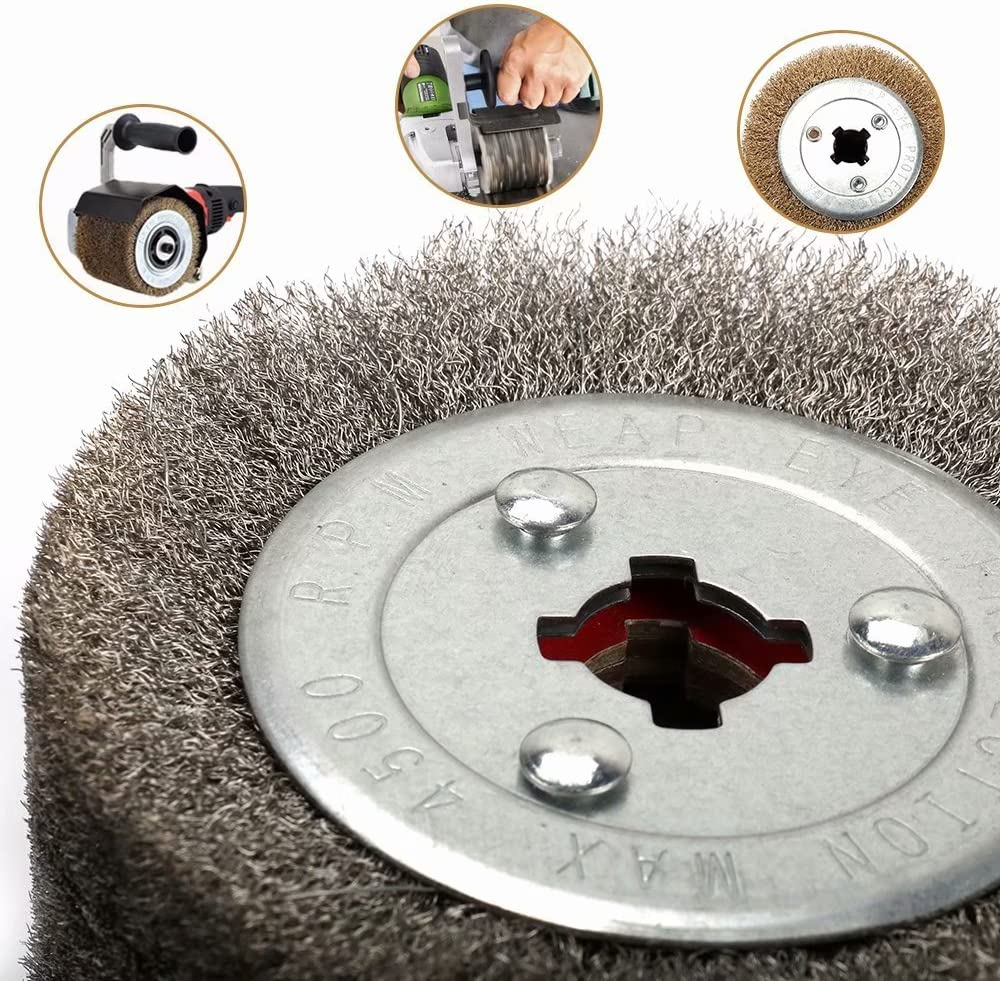 Copper and other Metal Products 0.15mm Wire 125x110mm Stainless Steel Drawing Polishing Burnishing Wheel Grinding Abrasive Tool for The Surface Treatment of Stainless Steel Aluminum