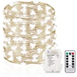 GDEALER 120 Led 39ft Fairy Lights Fairy String Lights Battery Operated Waterproof 8 Modes Remote Control String Lights Copper Wire Firefly lights Christmas Decor Christmas Lights Cool White