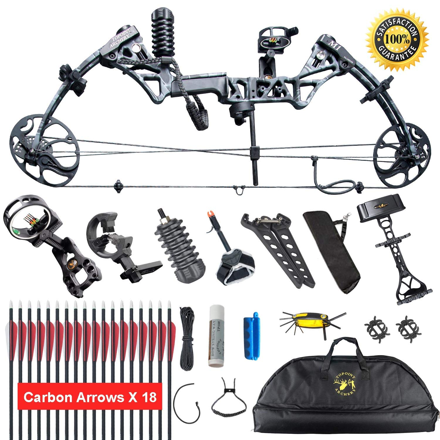 XGeek Compound Bow,with Hunting Accessories,CNC Milling Bow Riser,USA Gordon Composites Limb,BCY String,19 -30 Draw Length,10-50 Lbs Draw Weight,IBO 320fps 2 Years Warranty