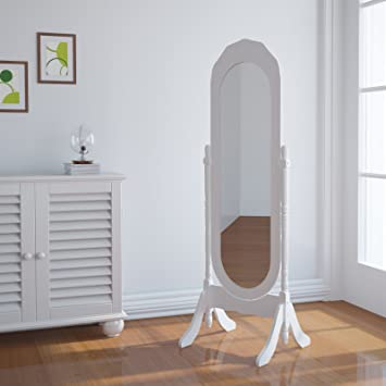 miadomodo espejo de pie estilo romntico madera con marco blanco