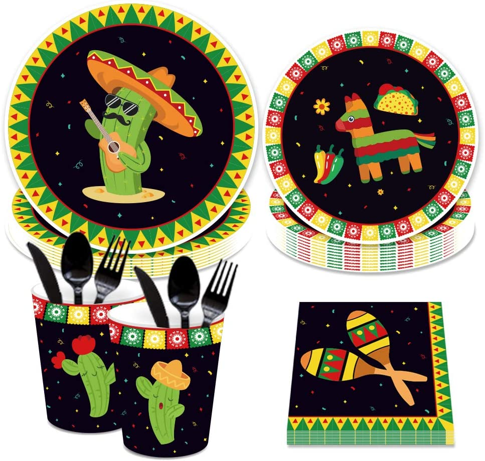 CC HOME Mexican Fiesta Supplies Pack – Serves 16 – Includes Plates, Cups and Napkins. Mexican Fiesta Supply Tableware Set Kit for Baby Shower,Birthday Party, Wedding Party Decorations