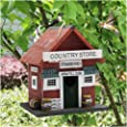 MorTime Wood Bird House, Retro Arts and Crafts Country Cottages Bird House, Woodland Cabin Birdhouse Outdoor Decor and Interior Wooden House Decor 2-in-1 (Wood)
