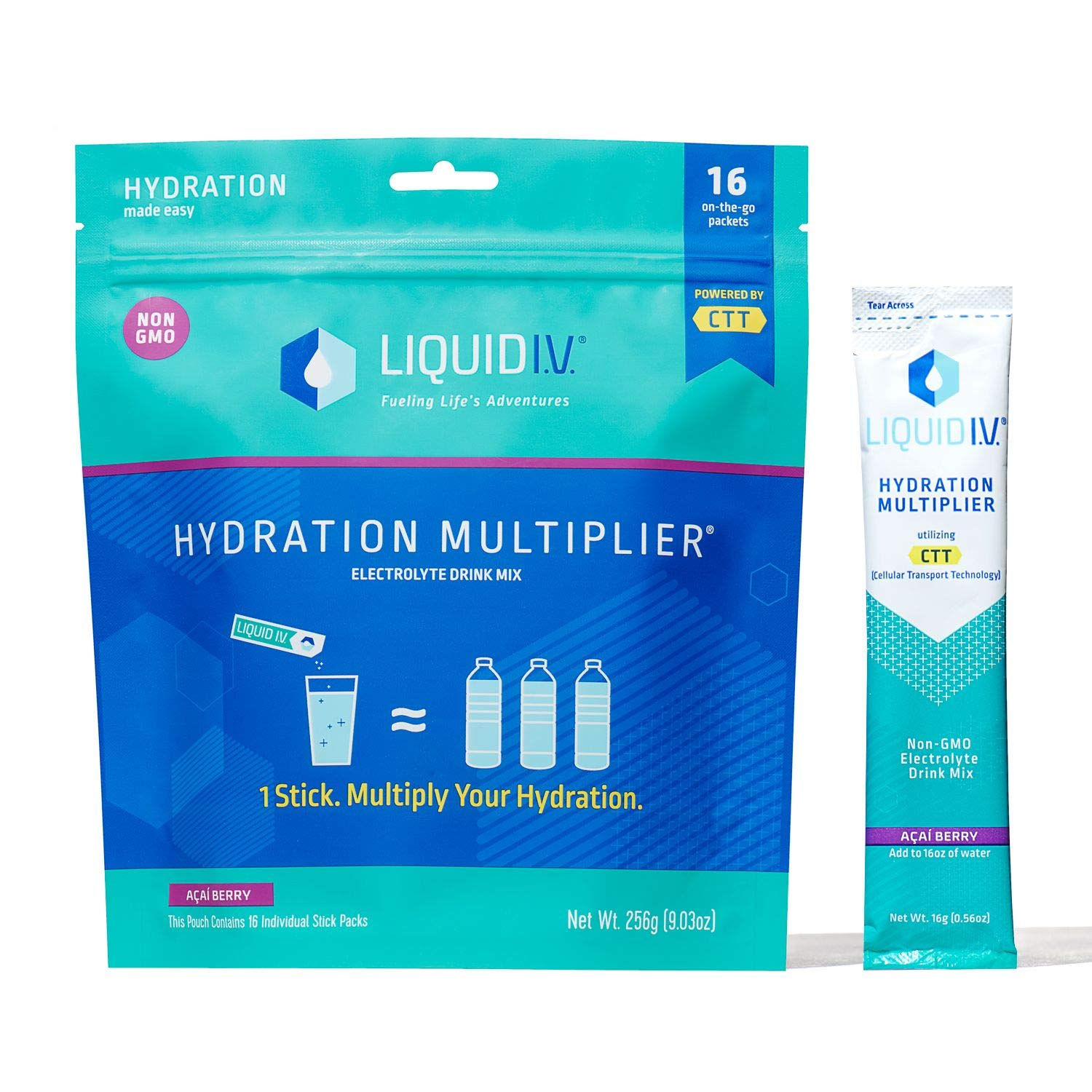 Liquid I.V. Hydration Multiplier | Hydration Powder Packets | Electrolyte Supplement Drink Mix | Low Sugar | Easy Open Single-Serving Stick | Non-GMO (Acai Berry/16 Count)