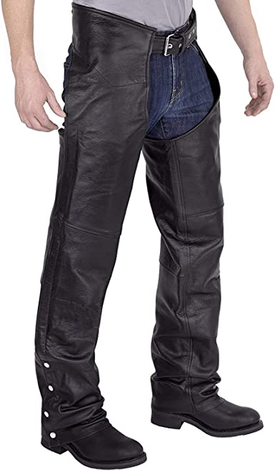 New Leather Motorcycle Biker Chaps Lined CUT TO YOUR SIZE Men Women size S-3XL