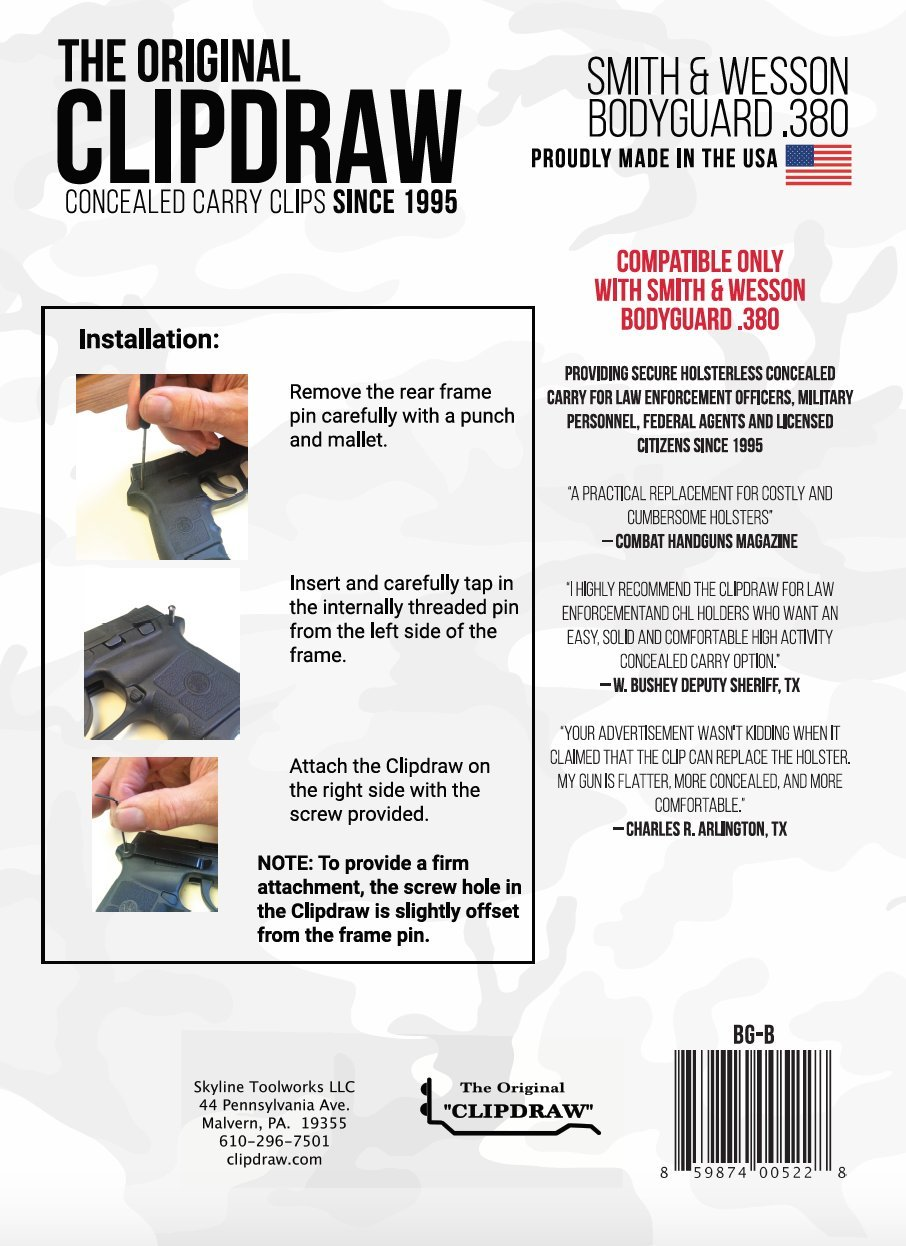Amazon.com : Clipdraw Concealed Carry Gun Belt Clip for Smith ...