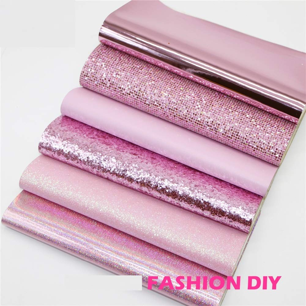 6Pcs 20x22cm Pink Style Mix PU Leather Fabric Sheet - Synthetic Leather for Crafting - Glitter Synthetic Leather Fabric - Synthetic Leather Fabric Sheets -DIY Fabric for Bag, Decorative, Sofa