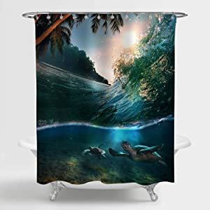 MitoVilla Hawaiian Ocean Beach Scenic Shower Curtain, Tropical Paradise Coastal with Palm Trees and Sea Turtles Diving Underwater Bathroom Accessories for Summer Nature Home Decor, Green, 72 W x 78 L
