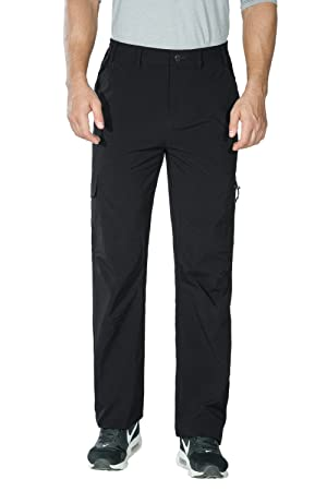 MAGCOMSEN Mens Casual Trousers Lightweight Outdoor Breathable Hiking Trousers Quick Dry Stretch Work Pants with Zip Pockets