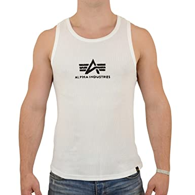860a060653415e Image Unavailable. Image not available for. Colour  Alpha Industries Men s Logo  Tank Top White Black ...