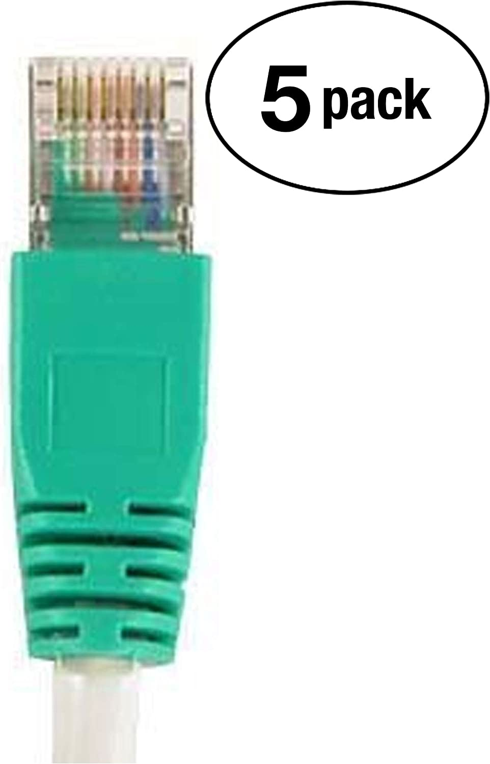 InstallerParts Ethernet Cable CAT5E Cable UTP Crossover 1 FT Professional Series 350MHZ 5 Pack Gray w//Green End 1Gigabit//Sec Network//Internet Cable