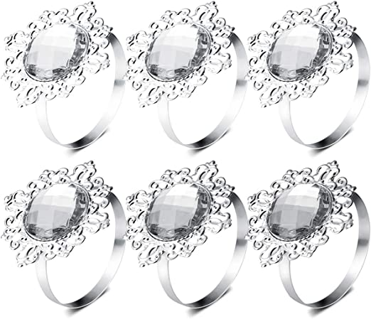 12pcs Acrylic Napkin Rings Napkin Holders Wedding Banquet Dinner Decoration