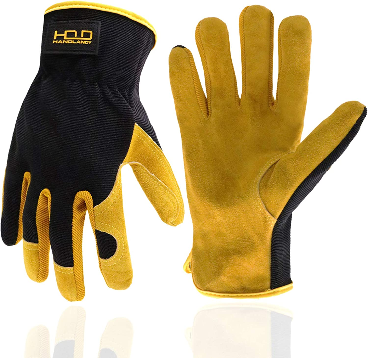 Men Women Leather Gardening Gloves, Utility Work Gloves for Mechanics, Construction, Driver, Dexterity Breathable Design