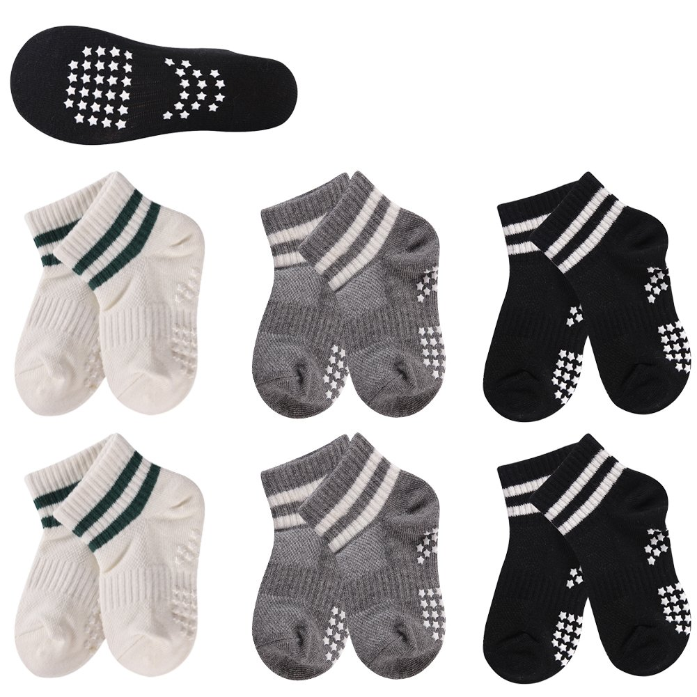 Toddler Socks Non Skid, HAPYCEO Kids Sports Striped Cotton Crew Socks 2-6 Years, 6 Pack