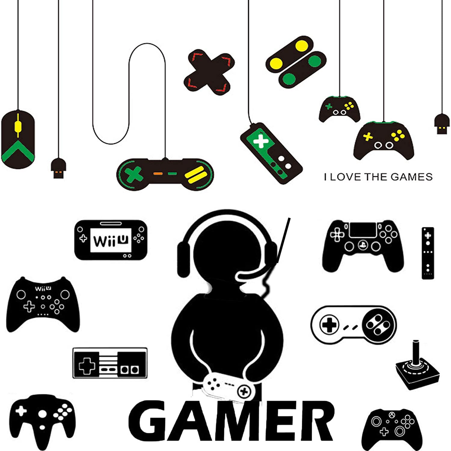 Tenare 3 Sheets Game Room Wall Stickers Game Controller Wall Stickers Game Boy Decal Vinyl Wallpapers for Boys Kids Home Playroom Bedroom Decoration (Black, Multi-Color)