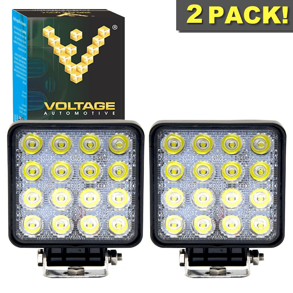 2 Pack Voltage Automotive LED Pods Spot Lights 4 27W Round LED Fog Light 6000K Waterproof for Off Road Truck Jeep SUV ATV Vehicles Boat Marine and Automotive