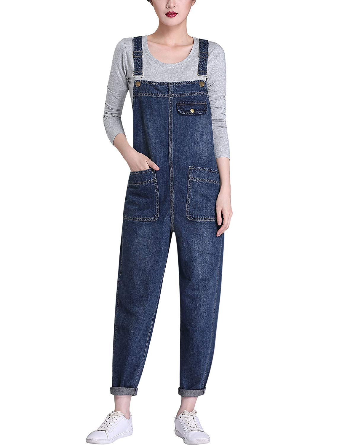 Yeokou Womens Casual Denim Cropped Harem Overalls Pant Jeans Jumpsuits, Blue, Medium