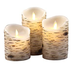 "Aku Tonpa Birch Bark Effect Flameless Candles Battery Operated Pillar Real Wax Flickering Moving Wick Electric LED Candle Sets with Remote Control Cycling 24 Hours Timer, 4"" 5"" 6"" Pack of 3"