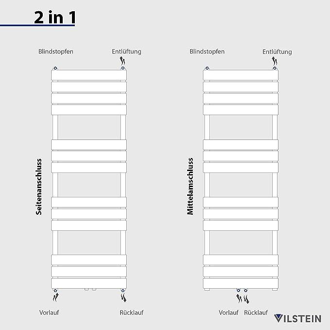 VILSTEIN VS-BH01-700x500W Radiateur de salle de bain en acier inoxydable