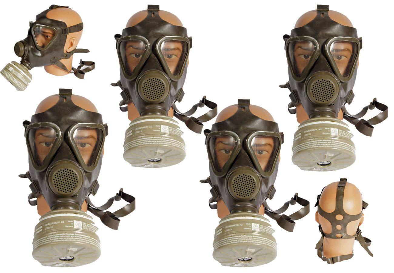 Unbekannt 4 Stü ck Bundeswehr Schutzmaske M65 mit Filter gebraucht Gasmaske ABC-Ausrü stung