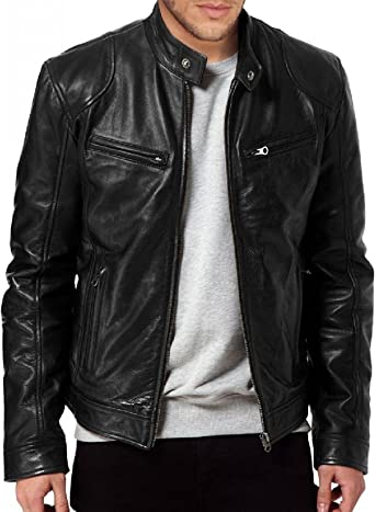 Men/'s SWORD Black Genuine Lambskin Leather Biker Jacket