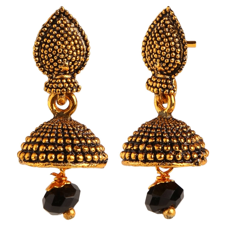 Efulgenz Indian Vintage Retro Ethnic Gypsy Oxidized Gold Tone Boho Jhumka Jhumki Dangle Earrings for Girls and Women Love Gift