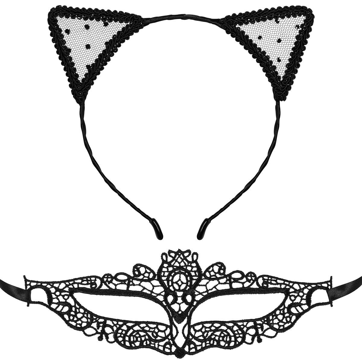 Lace Cat Ear Headband with Sexy Masquerade Mask for Women, Halloween Cosplay Cute Cat Costume Accessories (Black)