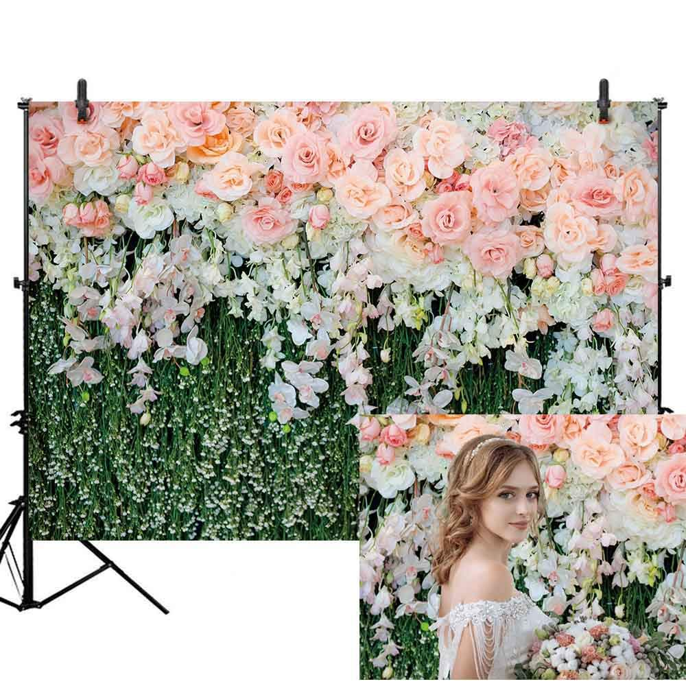 Allenjoy 7x5フィート ホワイトフローラル 壁 ウェディング 背景幕 カーテン しわなし ソフト生地 3D 花 結婚披露宴 セレモニー ブライダルシャワー 写真背景 装飾用品 スタジオブース B07RGHGDBL wedding-2 Econ poly 7X5ft