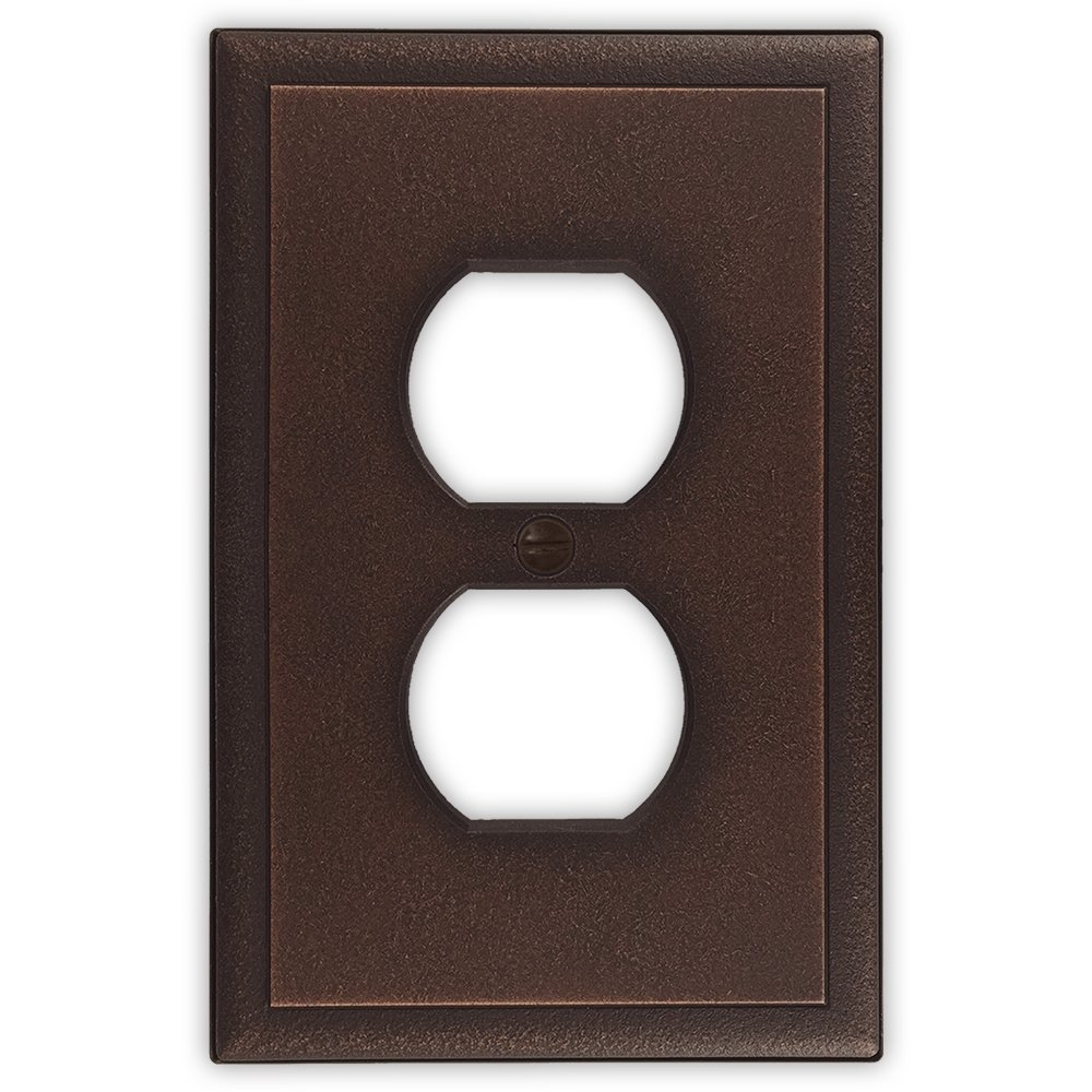 Questech Ambient Satin Metal Composite Switch Plate/Wall Plate/Outlet Cover (Single Duplex - 3 Pack, Oil Rubbed Bronze)