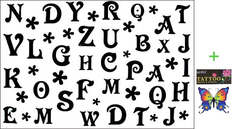 Tatuajes temporales de 26 letras del alfabeto, impermeables, negro ...