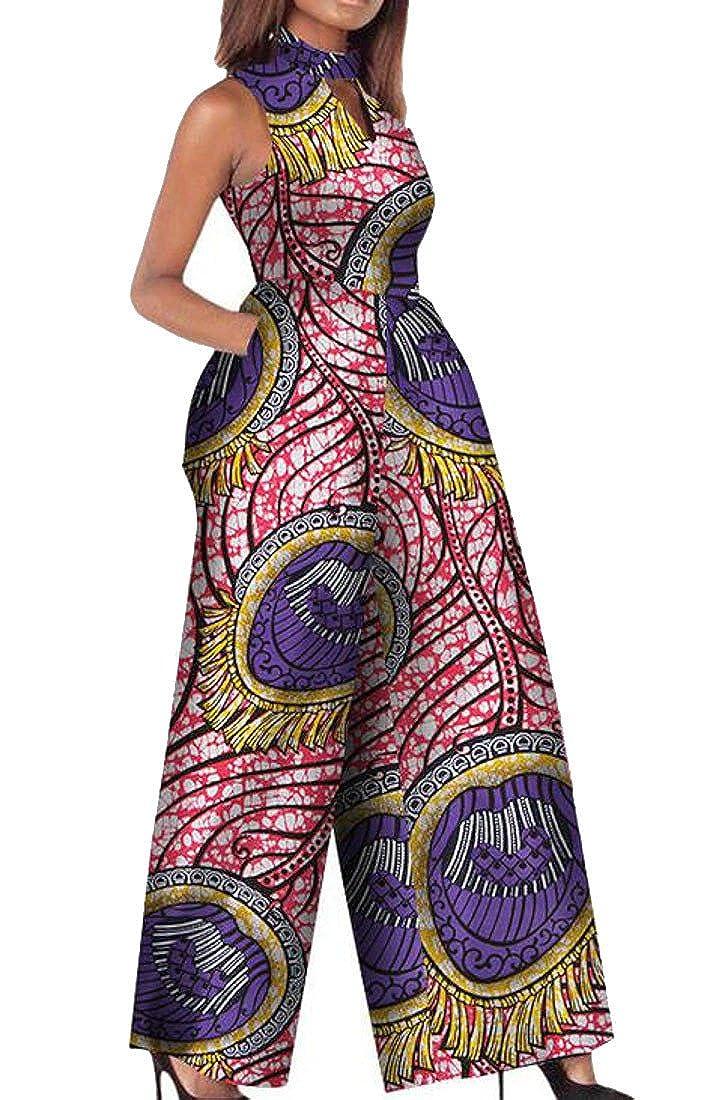 1 XiaoTianXinwomen clothes XTX Womens Keyhole Sleeveless Bodysuit Dashiki African Print Wide Leg Jumpsuit