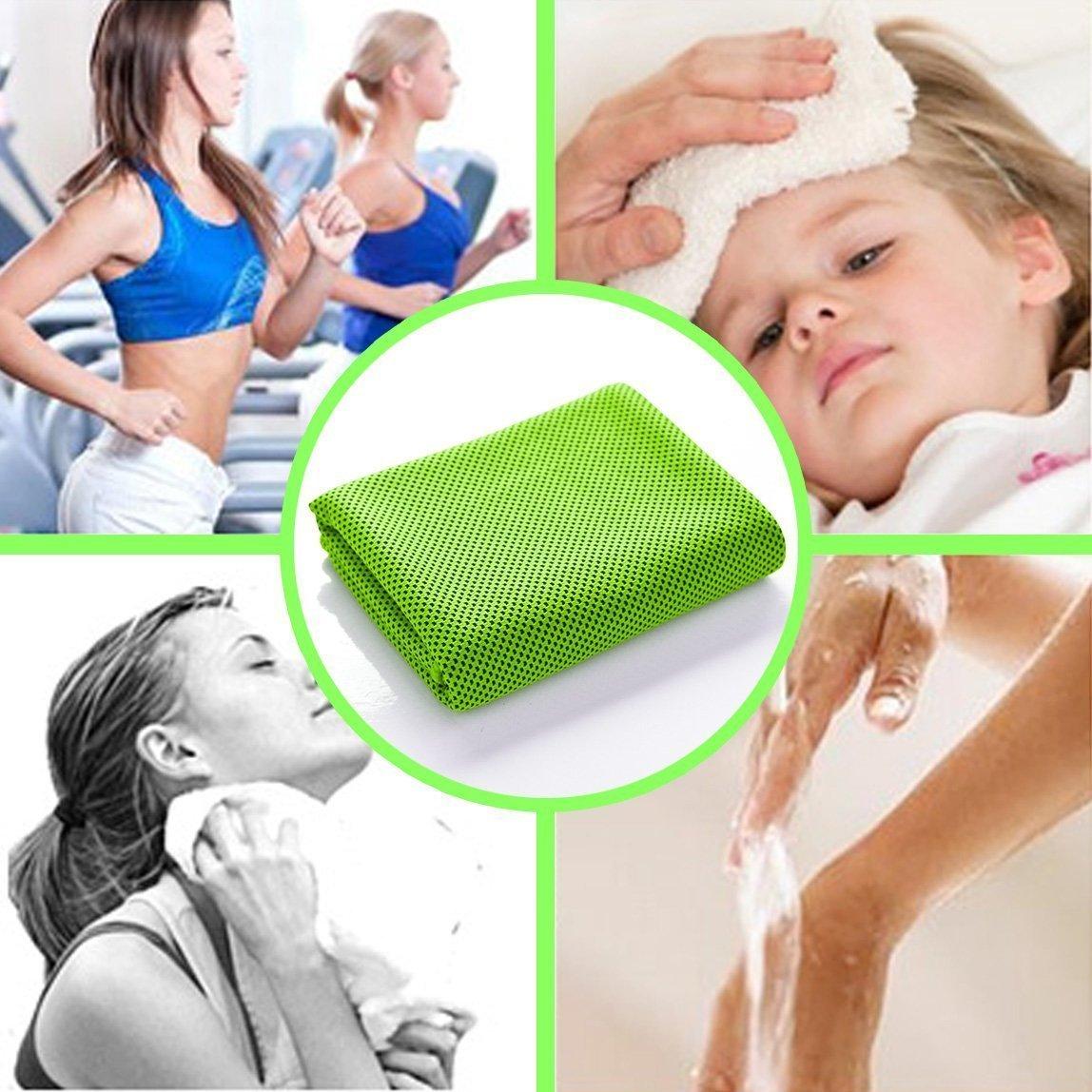 OMOTON Hightech-K/ühlung Handtuch f/ür sofortige Relief-Soft atmungsaktives Mesh Yoga Towel-Keep Cool f/ür Laufen Radfahren Wandern und alle Anderen Sport