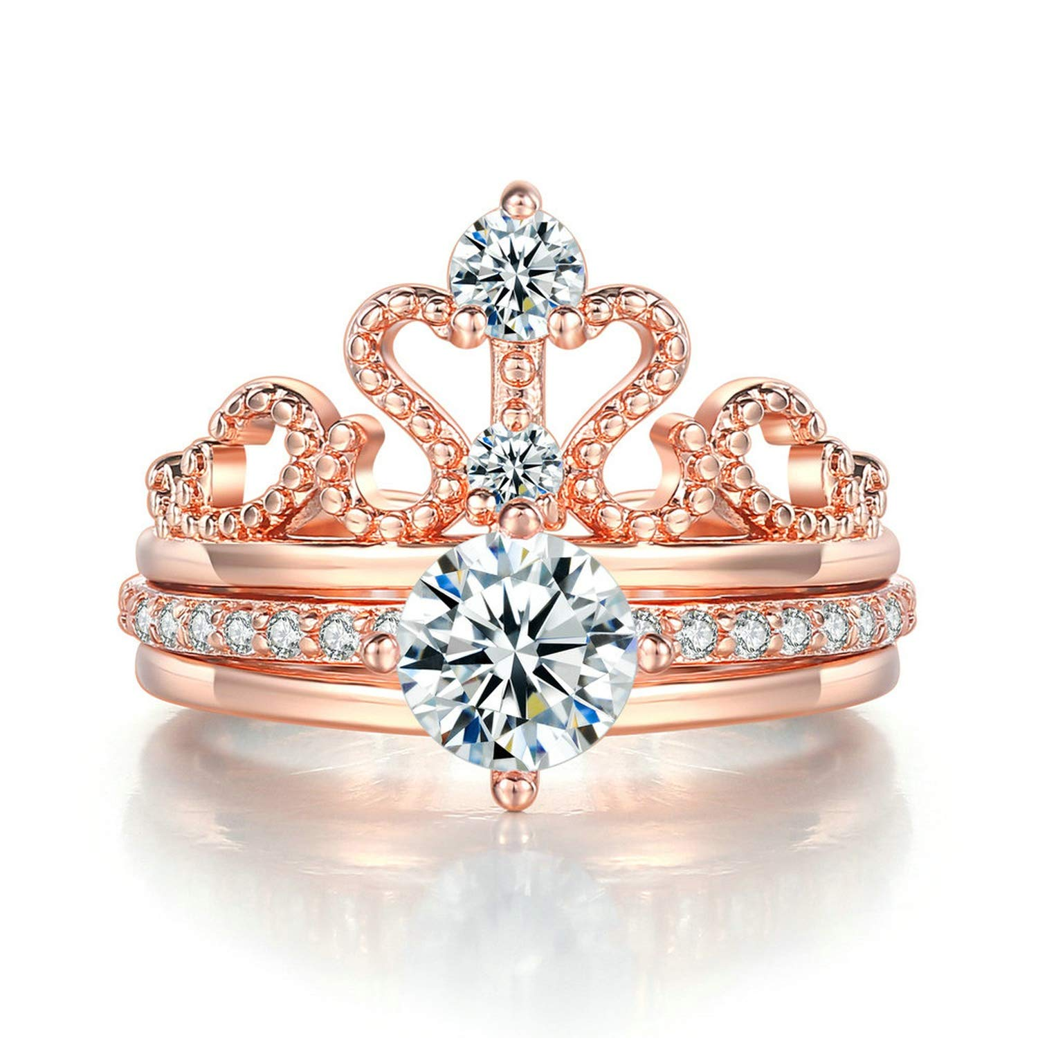 Candy-OU Ring for Women Elegant Luxury Cubic Zirconia Queen Crown Engagement Wedding Ring Set Jewelry R350-2