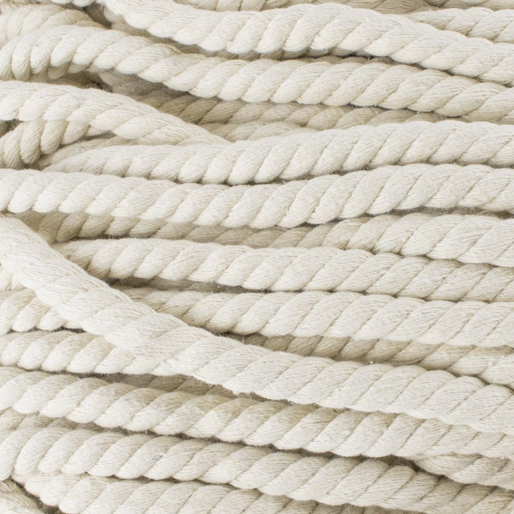 Premium Super Soft Colored Twisted Cotton Rope - Available in a Variety of Diameters - Rope by the Foot in 10 ft, 25 ft, 50 ft, & 100 ft Lengths