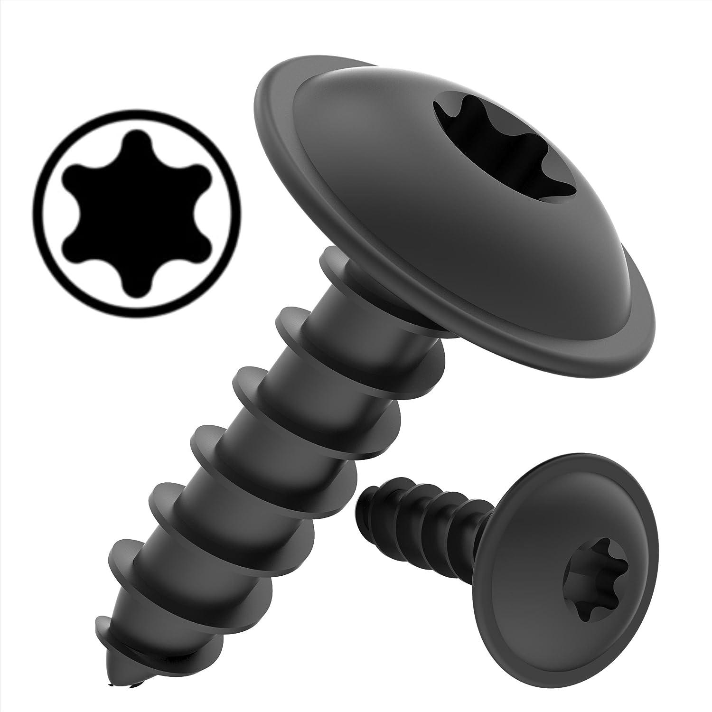 100 AUPROTEC Vis à Tôle TORX 4,8 x 16 mm tête bombée plate avec rondelle galvanisé noir DIN 7049 - 4,8 x 16 mm, lot de 100