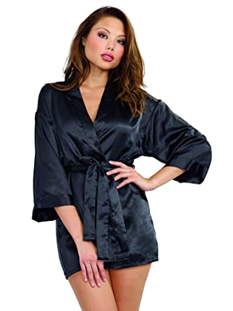 4e47a44930e5 Dreamgirl Women's Shalimar Charmeuse Babydoll with Robe and Padded Hanger,  Black, Small