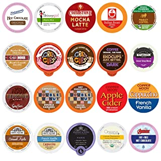Custom Variety Pack Coffee, Tea, and Hot Chocolate Holiday Winter Sampler - Single Serve Pods for Keurig K-Cup Machines, 20 Assorted Flavors Party Mix