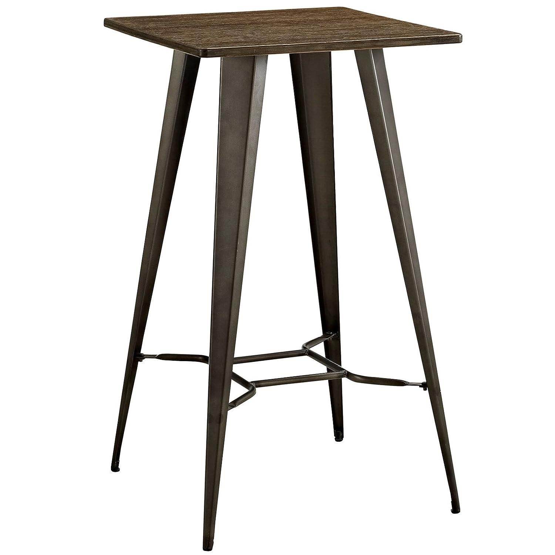 Modern Contemporary Urban Design Kitchen Room Bar Table, Brown, Metal Steel Wood