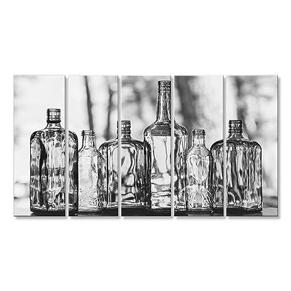 Cuadro Cuadros Las botellas de vidrio vacías están parados en fila Drink Concept Impresión sobre lienzo