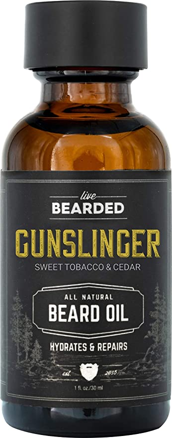 Live Bearded: Beard Oil - Gunslinger - Premium Beard and Skin Care with Jojoba Oil - 1 fl. oz. - Beard Itch and Dry Skin Relief - Handcrafted with All-Natural Ingredients - Made in the USA