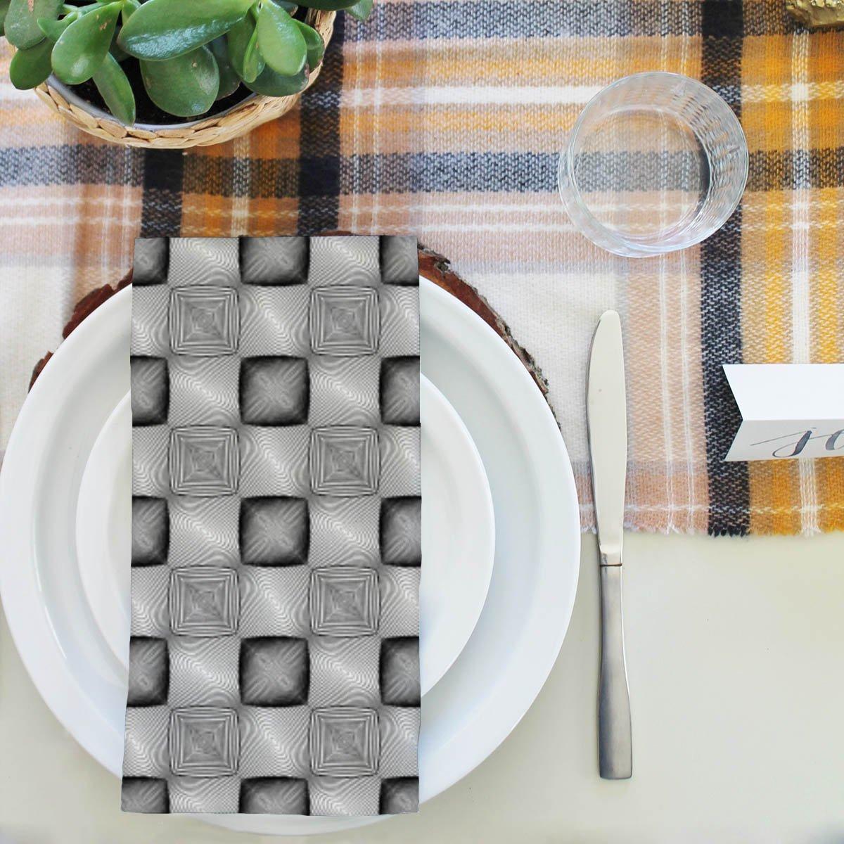 artzfolio Monochrome Squaresテーブルナプキンサテン生地 20inch x 20inch; SINGLE PIECE AZKIT38392582NAP_TB_L_02-S1_SN 20inch x 20inch; SINGLE PIECE Premium Satin B07FGG55ZC