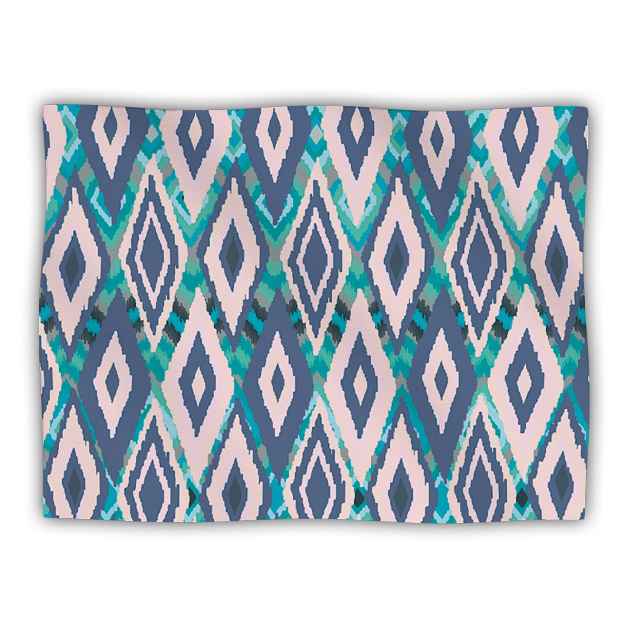 Kess InHouse Nika Martinez 'Tribal Ikat' Blue Pattern Dog Blanket, 40 by 30-Inch