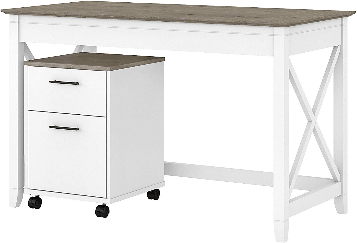 Bush Furniture Key West Writing Desk with 2 Drawer Mobile File Cabinet, 48W, Pure White and Shiplap Gray