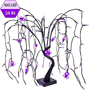 FUNARTY 100 LED Halloween Centerpiece Tree Pre-lit Willow Tree Spiders Spooky Lights Battery Operated 24in for Halloween Party Indoor Home Table Desktop Holiday Decoration, Purple
