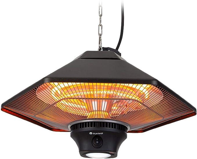 blumfeldt Heat Hexa - Calefactor infrarrojo para Exterior, Potencia 2000 W, 3 Niveles, hasta 40 m², Protección IP34, Sin precalentamient, Luz LED, Pantalla táctil, Mando a Distancia, Aluminio, Bronce