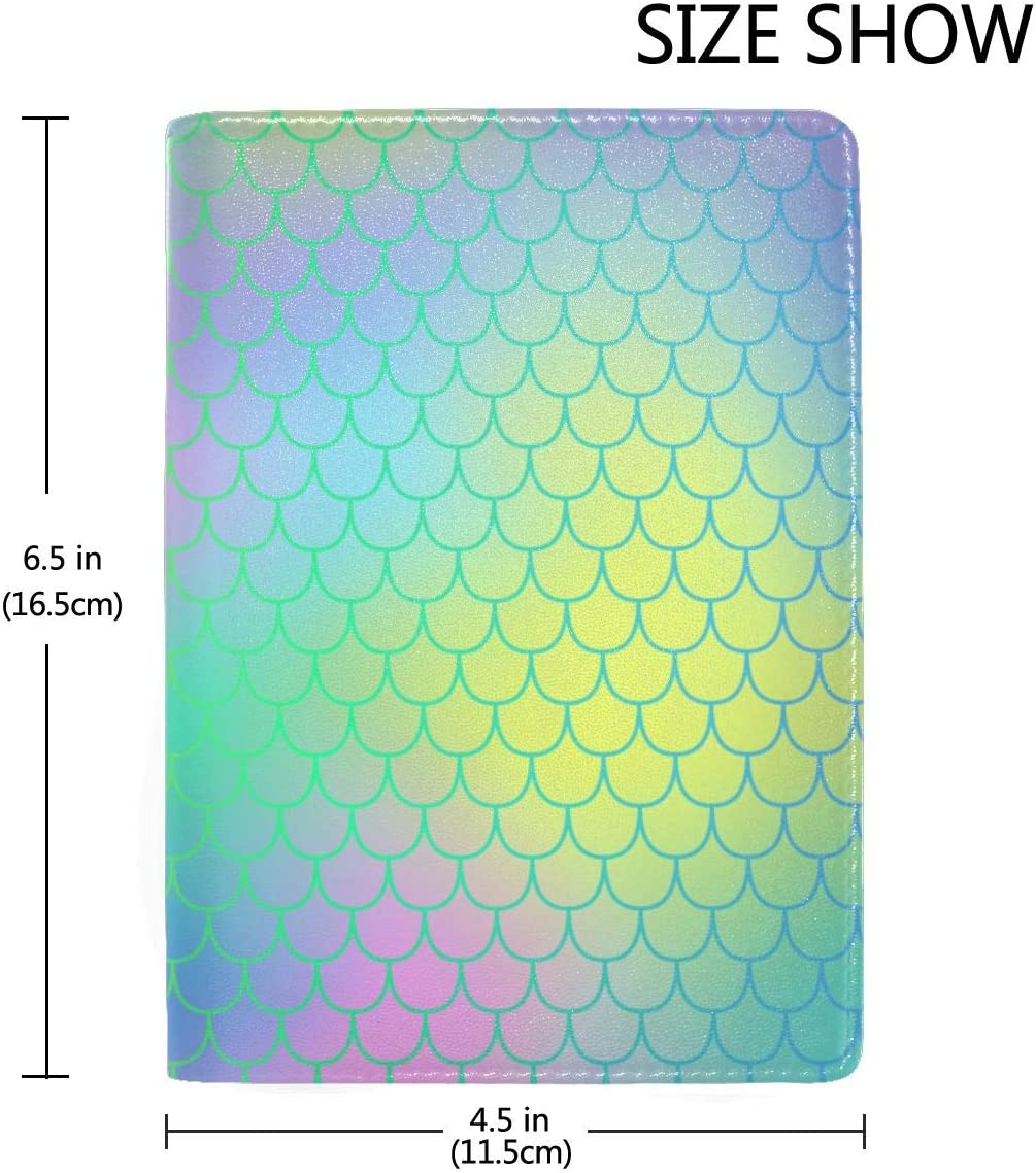 Colorful Mermaid Tail Scale Fashion Leather Passport Holder Cover Case Travel Wallet 6.5 In