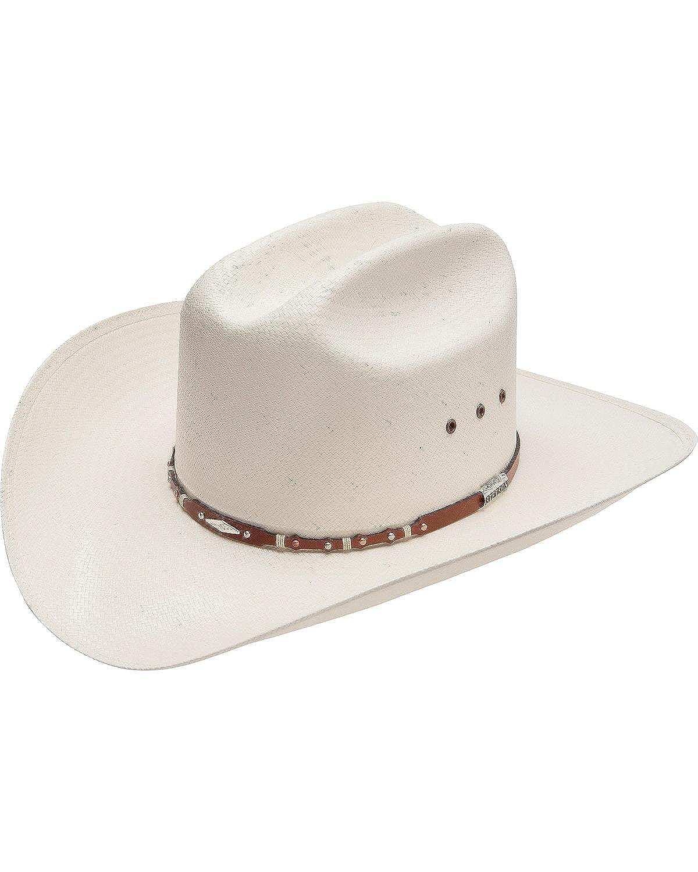 Stetson Mens Saddle Rock 10X Straw Cowboy Hat Natural 7 1//8